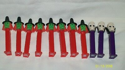 Halloween Pez Dispensers,Three (3)Dr Skull, Eight (8)  Witches, made in Slovenia