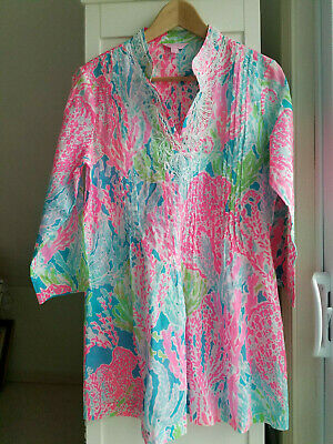 15d01931b0f3d6 Lilly Pulitzer Sarasota Beaded Tunic Top Turquoise Lets Cha Cha Medium 24092