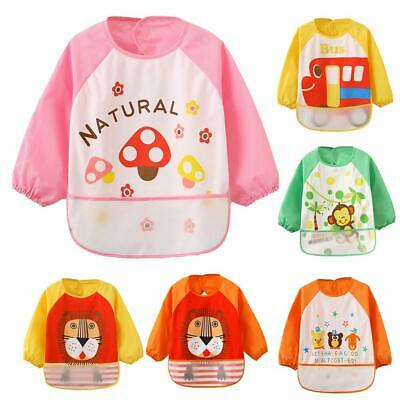 Cute Baby Toddler Waterproof Long Sleeve Children Kids Feeding Smock Bib Apron