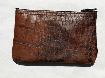 New Mens or Womens Croc Leather Zippered Coin Pouch / Purse / Change U.S.A