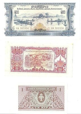 Lot of 3 Laos Laotian Kip Notes Antique 100 10 1 Kip Notes Foreign Currency