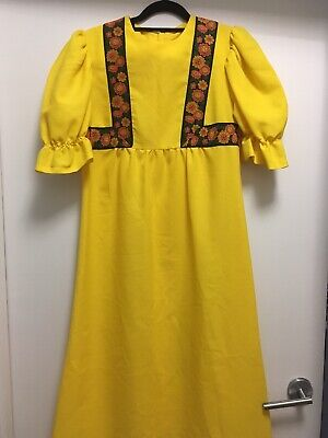 Yellow 70s 60s vintage maxi dress retro Boyfriend brand long flowers ribbon