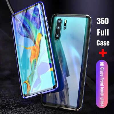 For Huawei P30 P20 Mate 20 Pro 360 Tempered Glass Cover Magnetic Adsorption Case