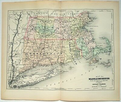 Original 1896 Copper-Plate Map of Massachusetts by A. J. Johnson. Rare Antique