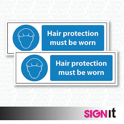 Hair Protection Must Be Worn - Warning Sign Vinyl Sticker (50mm x 150mm)