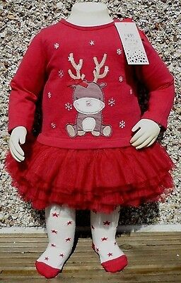BNWT Baby Girls Cute Reindeer Red Tutu Party Dress Tights Christmas Xmas Outfit
