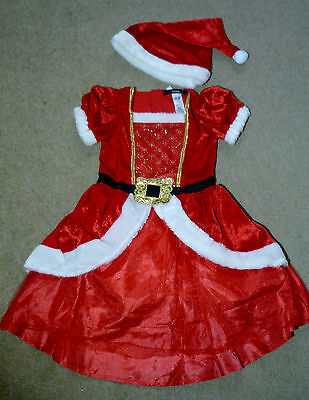 BNWT STUNNING Baby Girls Red Christmas Party Dress & Hat Xmas Outfit 1-2 years