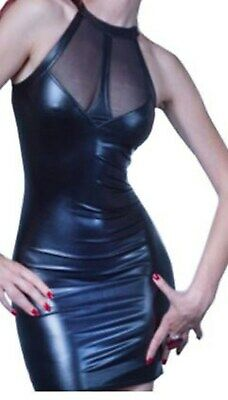 Latex Faux Look Dress See Through Mesh Panels Across Bust and Down Back