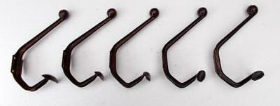 5 French Art Deco Shabby Chic Pressed Steel Industrial Coat Hooks.