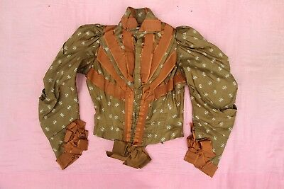 Antique 1900's Victorian Era Olive Green Bodice, 1900's Women's Blouse Top Vtg