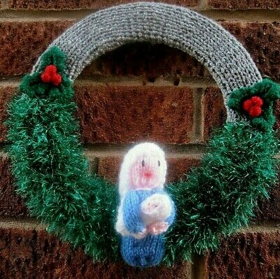 Hand Knitted Holy Mary And Jesus Xmas Nativity Themed Wreath. Great Design.
