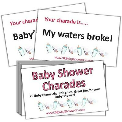 Baby Shower Game, CHARADES- GIRLS, pink, party game, baby shower, baby