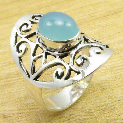 7 Size, CELTIC Ring ! LADIES' Rare Blue Chalcedony Silver Plated Jewelry NEW