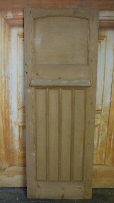 AT01a (26 3/4 x 75) 1930's / Edwardian Old Arched Topped Solid Pine Door