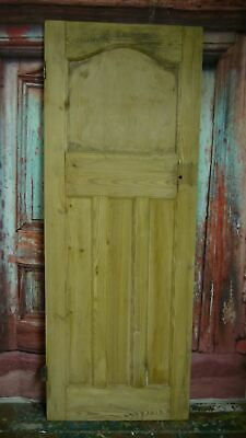 AT03 (28 x 74 3/4 ) 1930s / edwardian old arched topped stripped solid pine door