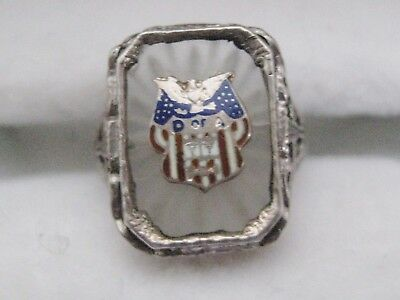 WWI Era Home Front Patriotic Sweetheart Sterling Silver Ring