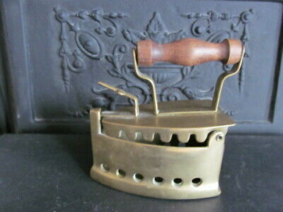 Victorian Box Iron/Coal Iron In Brass With Wooden Handle Small Genuine