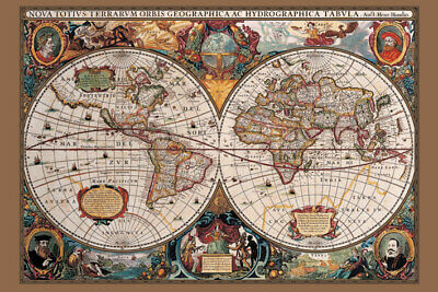 17th Century World Map (Gold Ink) - Maxi Poster 61cm x 91.5cm PP31836 - 406