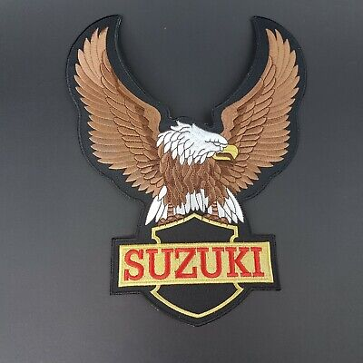 Large NOS 80`S Suzuki motorcycle eagle biker sew iron on Embroidered patch