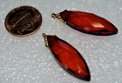 VINTAGE RED FACETED CRYSTAL GLASS PENDANTS * NAVETTE SHAPE * BRASS TOP * 30mm x