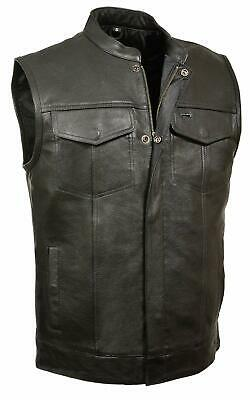SOA Vest Mens Real Leather Anarchy Motorcycle Biker Club Concealed Carry Outlaws