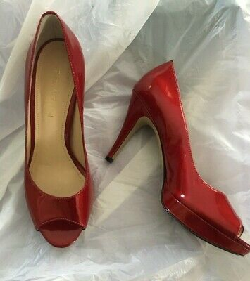 929ae5974a6 ENZO ANGIOLINI RED Patent Leather Peep Toe High Heel Pumps Size 7.5