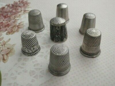 Lot of 7 Antique Vintage Silver Mother of Pearl & Nickel Thimbles Sizes 8,9,10
