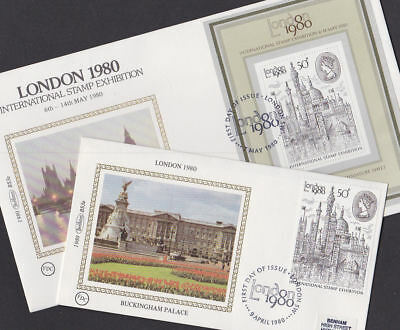 Great Britain 1980 FDC Small Benham Set MS Silk Covers London Stamp Exhibition