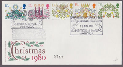 Great Britain 1980 FDC Post Office Cover Christmas Exhibition NPC Warwick Cancel