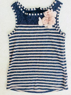 Girls Navy and Beige Striped Sleeveless Top Age 5 years From Next