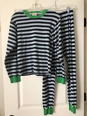 HANNA ANDERSSON Woman's Blue Striped Pajama Set Size XS Organic Cotton