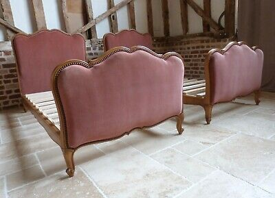 Matching pair 2 twin Original French upholstered light walnut single 3ft beds