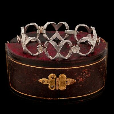 Antique Vintage Art Deco Sterling 800 Silver Geometric Floral Fancy Bracelet