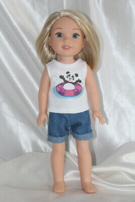 Dress Outfit fits 14in American Girl Wellie Wishers Doll Clothes Hearts Panda 2S