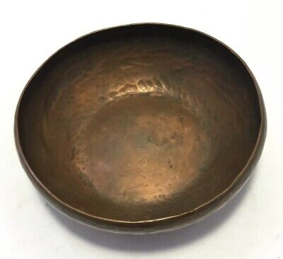 "Antique Arts & Crafts Mission Hammered Copper 4"" D Bowl Pin Dish"