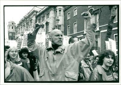 Students groups march embankment - Vintage photo