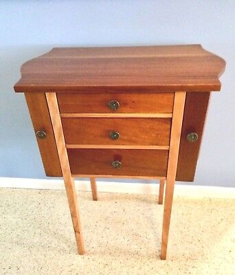 Vintage Art Deco Sewing Cabinet Two-Tone Maple & Mahogany 1920s MCM Machine