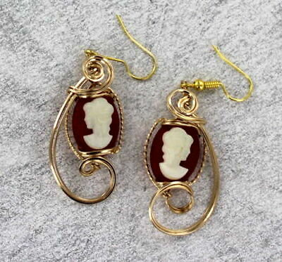 Vintage Antique  Cameo Earrings in 14kt Rolled Gold Settings   1940s