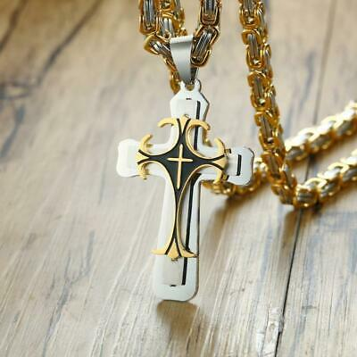 🔥FACTORY DIRECT🔥 Chunky Byzantine Chain // Cross Pendant for Men // Necklace