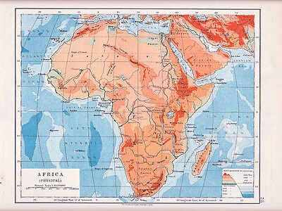 1912 Map ~ Africa ~ Physical ~ Depths & Heights