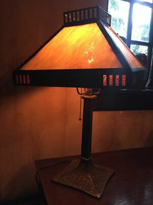 American Arts & Crafts Art Nouveau caramel slag stained glass table lamp ca 1910