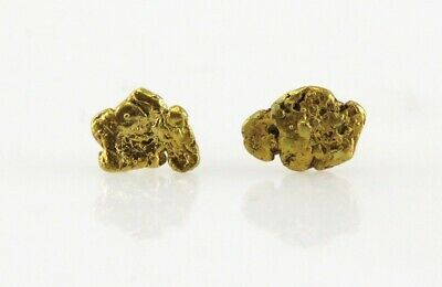 64ec1a258 Vintage 14K & Pure 24K Yellow Gold Nugget Stud Earrings Gold Rush Jewelry