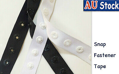 Snap Ribbon Fastener Tape Black White Ribbon Garment Closure Sewing Kit Craft