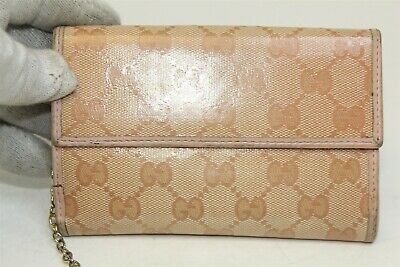 d3835f983692 Gucci Pink Crystal Coated Canvas Pink Leather French Flap Wallet Made in  Italy