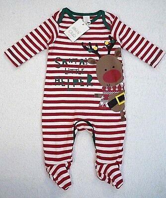BNWT Mini Club Baby Boys Girls Christmas Sleepsuit All In One Playsuit Outfit