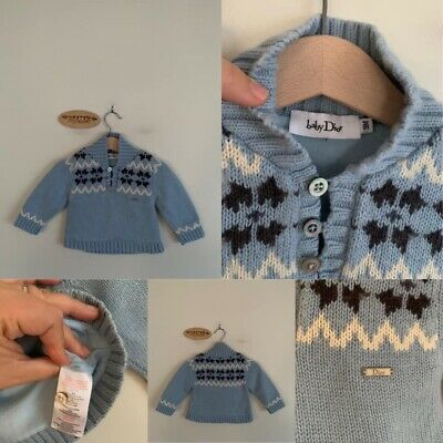 Sz 9m Baby Dior Lined Cotton/Wool Blend Jumper