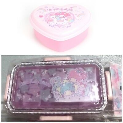 Rare NEW Sanrio LITTLE TWIN STARS, My Melody: plastic lunch box or Heart Box Set