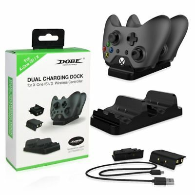 For Xbox One /S Dual Charging Dock Controller Charger +2X Rechargeable Batteries