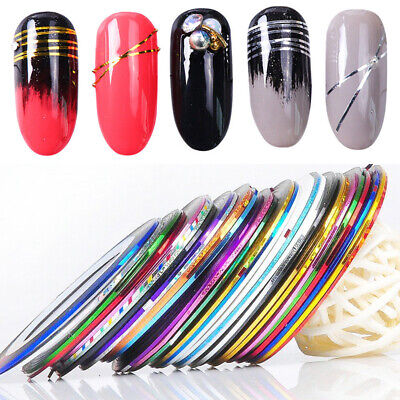 2Pcs 1mm Nail Art Striping Tape Line Sticker Decals 30 colors Thread Decor DIY