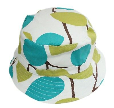 82df60ea Baby Boy Girl White Green Leaves Bucket Sun Hat with Chin Strap Age 1 2 3